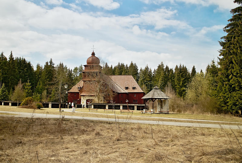 Houten kerk in Svaty Kriz, Slowakije royalty-vrije stock afbeelding
