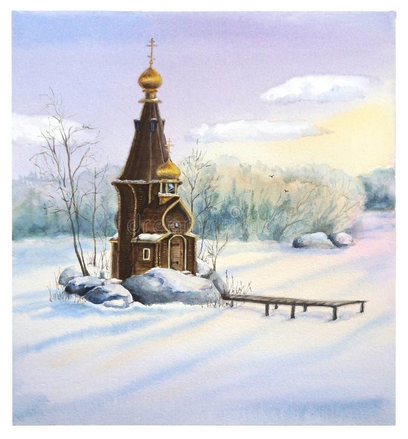 Houten Kerk van St Andrew in de winter royalty-vrije illustratie