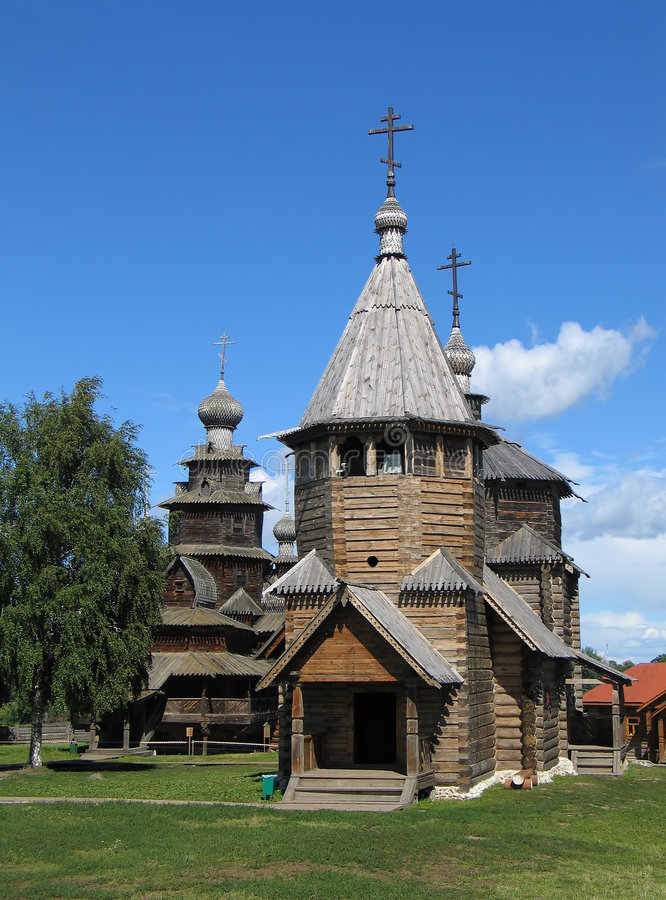 Houten kerken in Suzdal. stock foto's