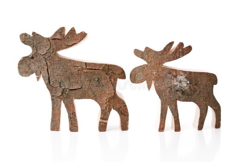 Houten Kerstmisdecoratie - geïsoleerde met de hand gemaakt rendier of elanden stock fotografie
