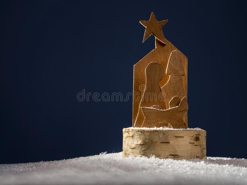 Houten Kerstmisvoederbak royalty-vrije stock foto's
