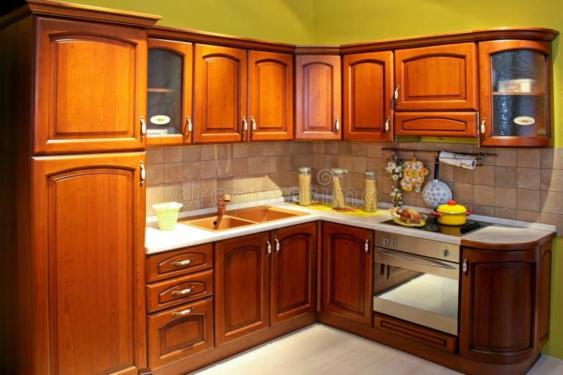Houten keuken stock afbeelding