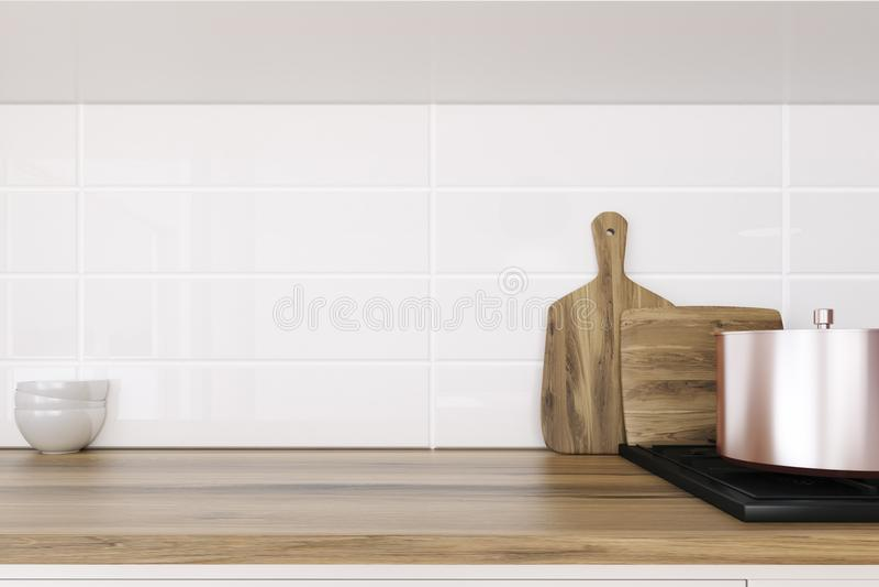 Houten keukencountertop dichte omhooggaand stock illustratie