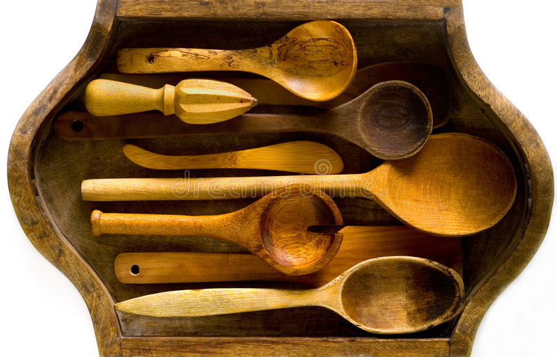 Houten keukengerei stock afbeeldingen
