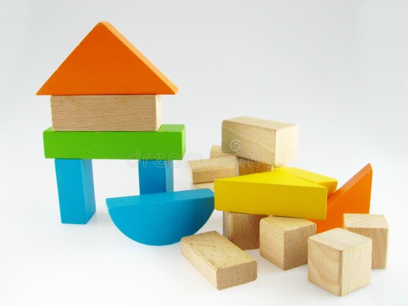 Houten kleurenstuk speelgoed blokken royalty-vrije stock afbeelding
