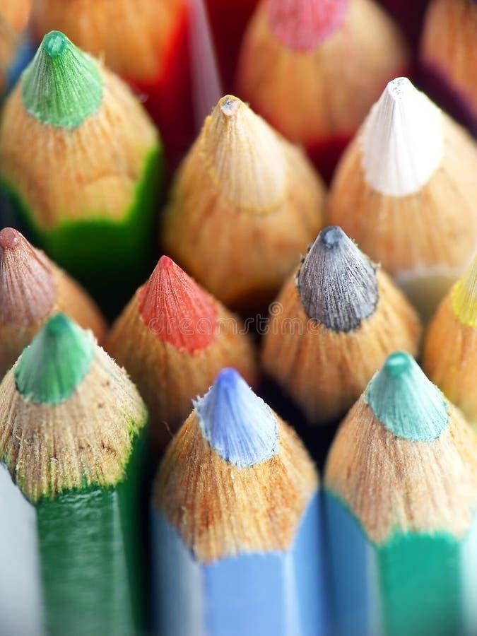 Houten kleurpotloden royalty-vrije stock afbeelding