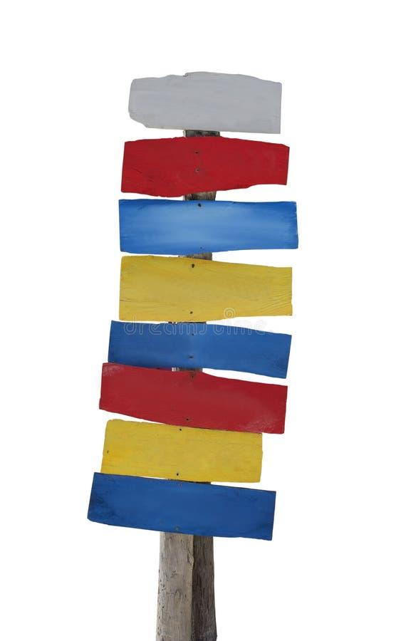 Houten kleurrijk teken royalty-vrije stock afbeeldingen