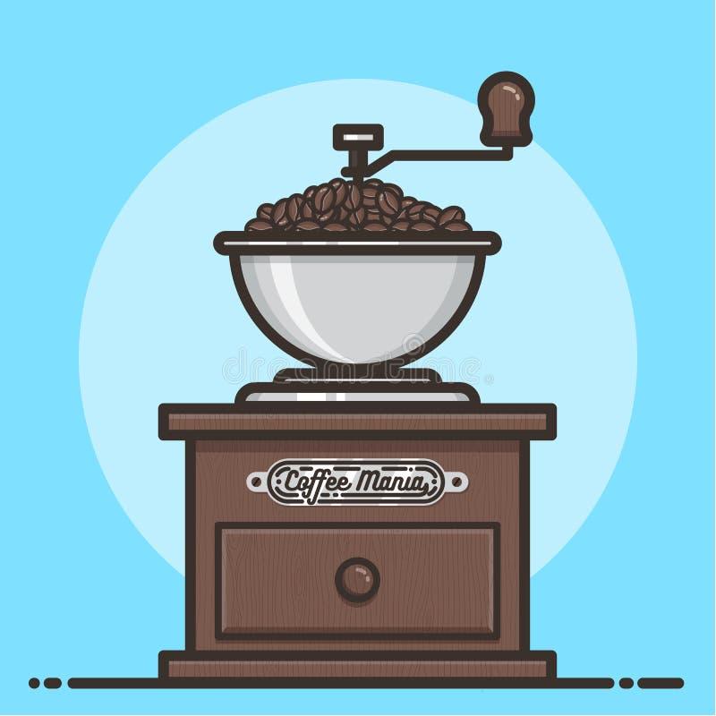 Houten koffiemolen met koffiebonen Vlak Ontwerp stock illustratie