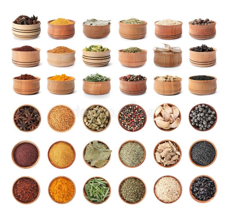 Houten kommen met verschillende kruiden en kruiden stock afbeelding