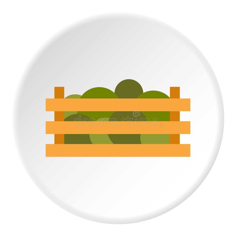 Houten krat met groentenpictogram, vlakke stijl vector illustratie