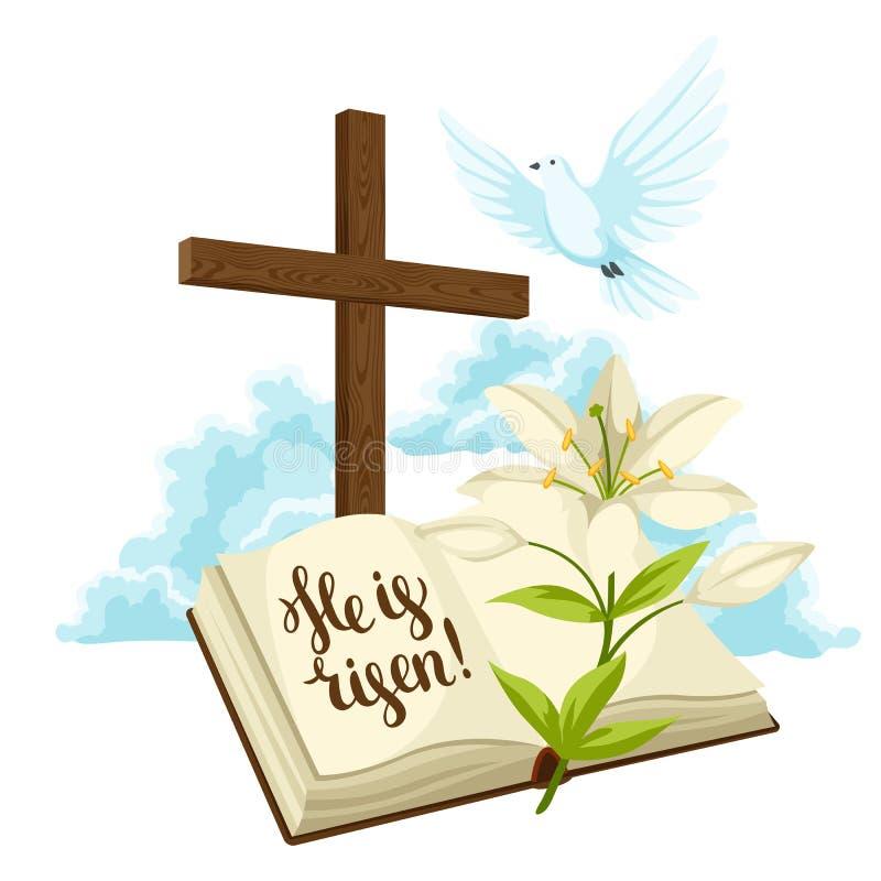 Houten kruis met bijbel, lelie en duif Gelukkige Pasen-conceptenillustratie of groetkaart Godsdienstige symbolen van geloof royalty-vrije illustratie