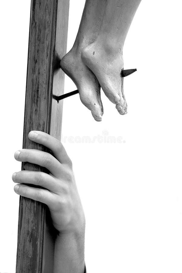 Houten Kruisbeeld en Hand stock afbeeldingen