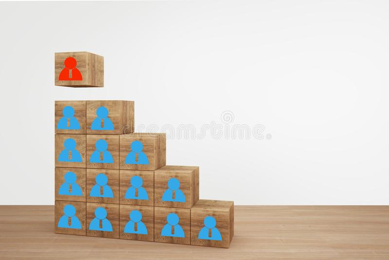 Houten kubusblokken op hoogste trap met mensenpictogram bedrijfsleidingsconcept, Uitgezochte teamleider die, personeel, een goed  stock foto's