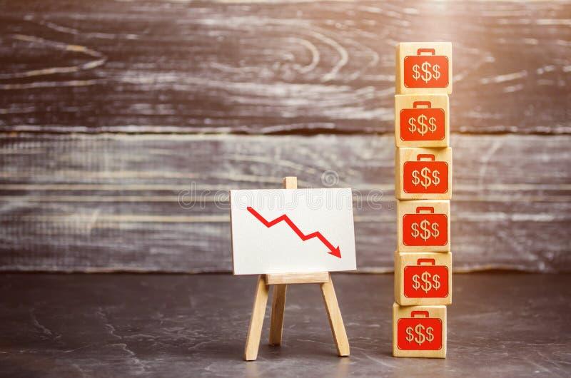 Houten kubussen met het neer beeld van de dollars en de pijl Financiële en economische crisis Daling in winsten Salarisverminderi stock fotografie