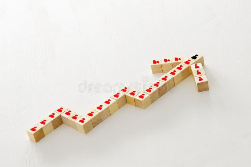 houten kubussenvormen als het kweken van grafiek Succes en het concept van het teamwerk stock fotografie