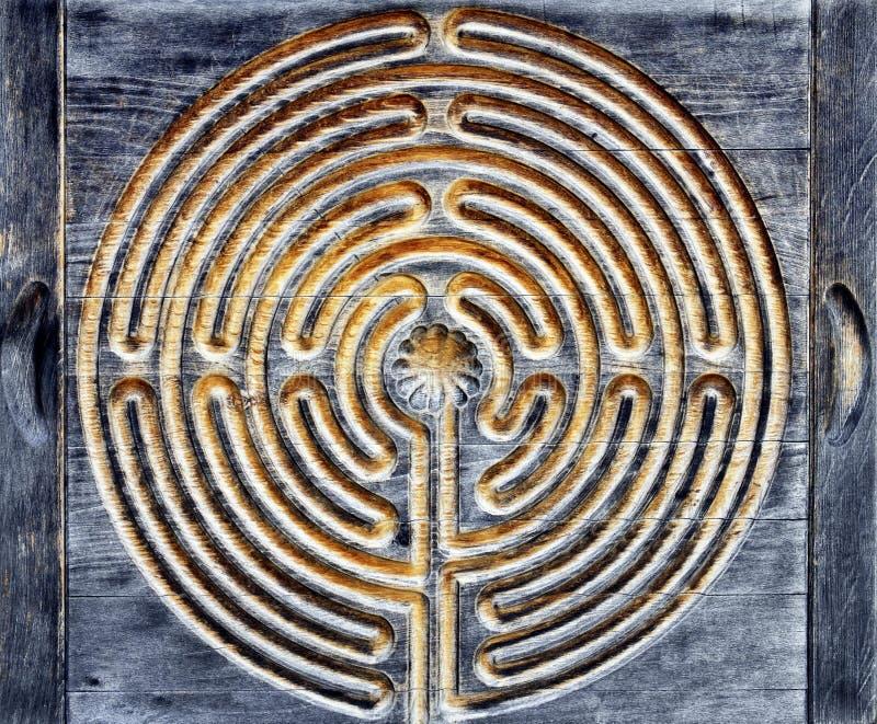 Houten labyrint stock afbeeldingen
