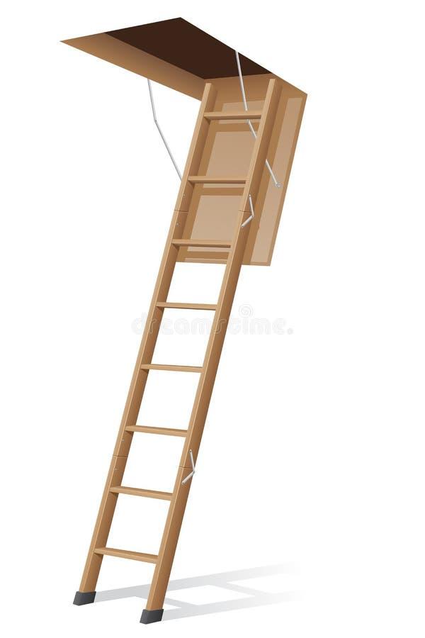 Houten ladder aan de zolder vectorillustratie vector illustratie