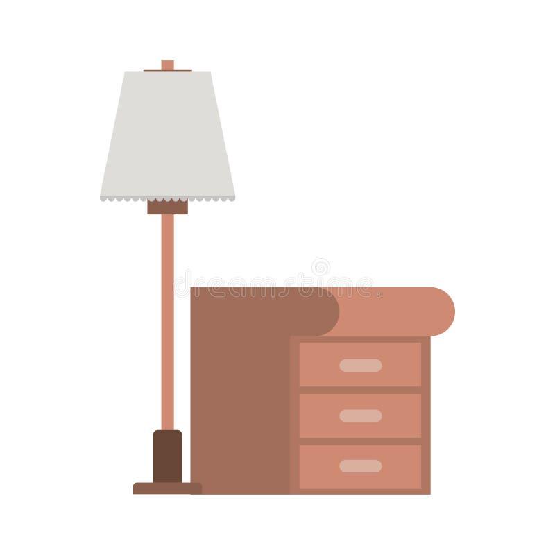 Houten lade met lamp stock illustratie