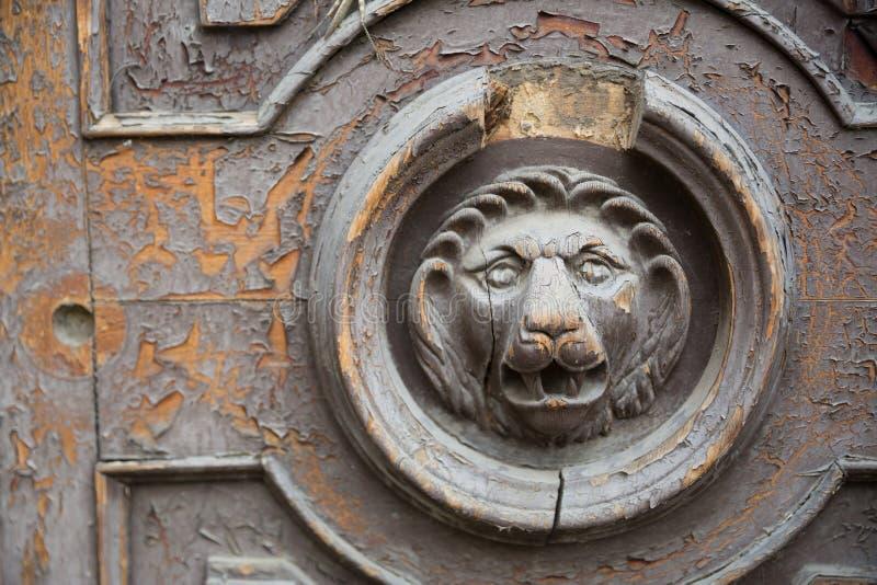 Houten leeuwdeur De leeuwen staren van doorstane houten deur voor grafisch en Webontwerp, voor website of mobiele toepassing stock afbeeldingen
