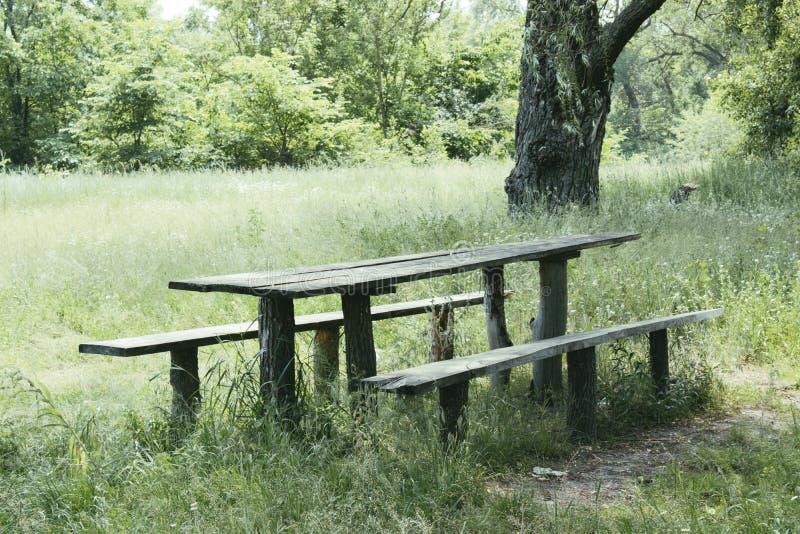 Houten lijst en banken voor een picknick op het gras van het parkgebied in de schaduw royalty-vrije stock afbeeldingen
