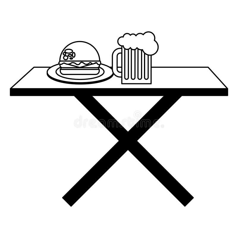 Houten lijst met bierglas en hamburger royalty-vrije illustratie