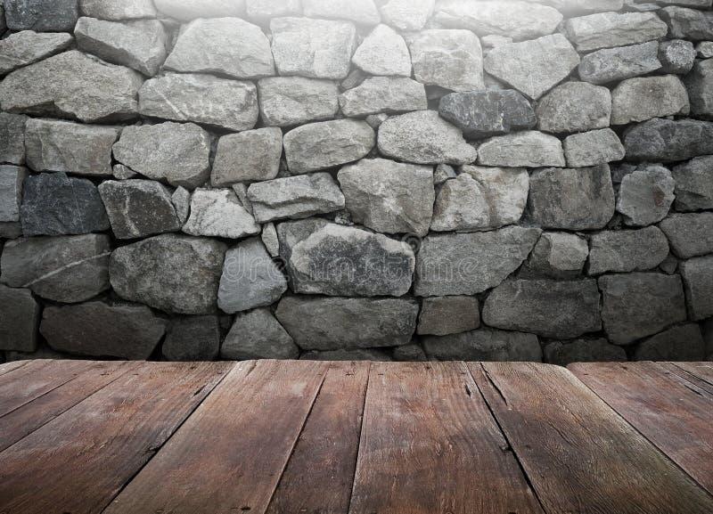 Houten lijst met de achtergrond van de steenmuur royalty-vrije stock afbeeldingen