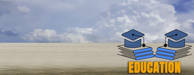 Houten lijst met de pictogrammen van de boekstapel, met Heldere blauwe hemel met bi stock afbeeldingen