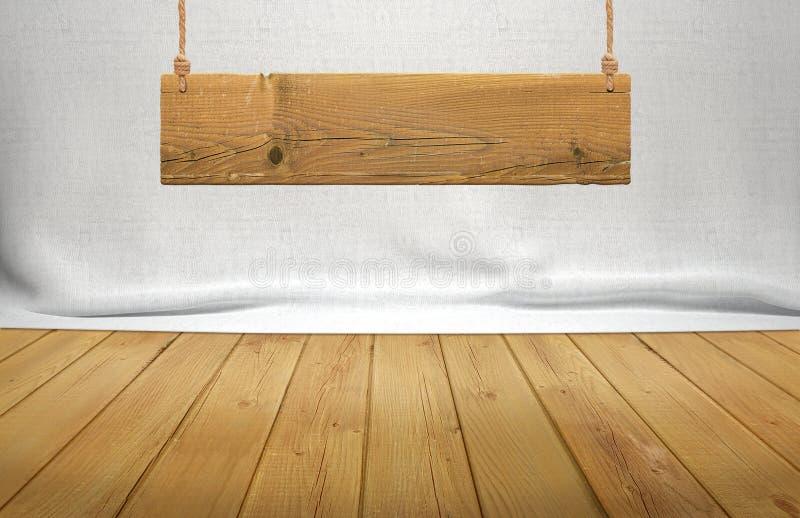 Houten lijst met het hangen van houten teken op witte stoffenachtergrond royalty-vrije stock fotografie