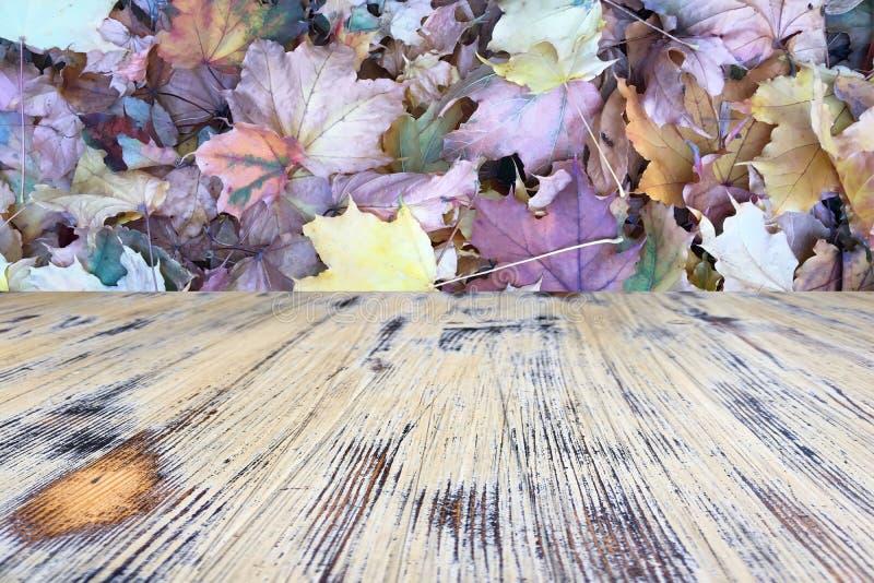 Houten Lijst met Oranje Bladeren en Vaag Autumn Background royalty-vrije stock foto