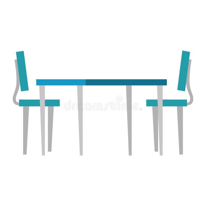 Houten lijst met stoelen vector illustratie