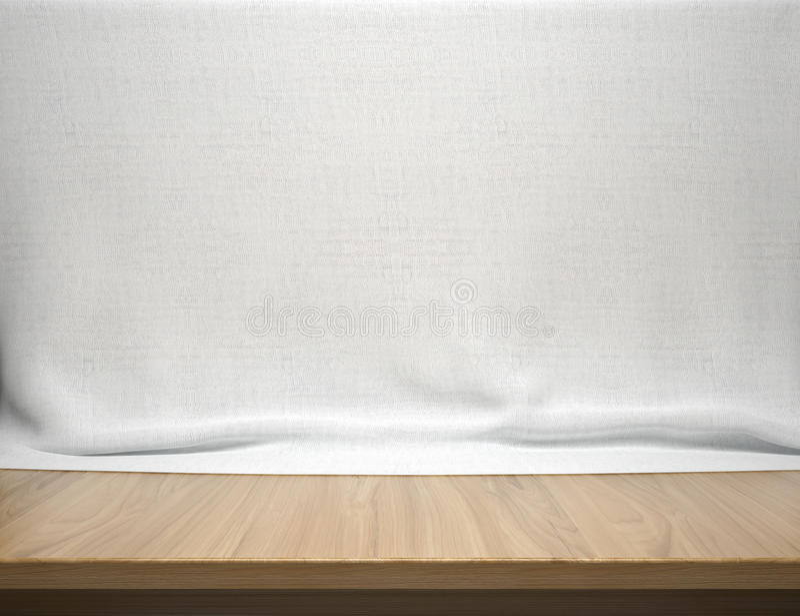 Houten lijst met witte katoenen stoffenachtergrond royalty-vrije stock afbeelding