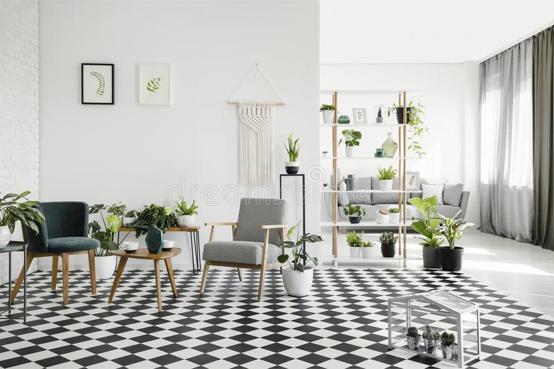 Houten lijst tussen leunstoelen op geruite vloer in wit woonkamerbinnenland met installaties Echte foto royalty-vrije stock foto