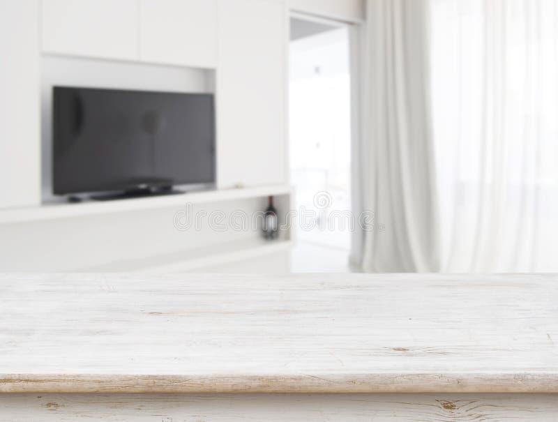 Houten lijst voor vage woonkamer binnenlandse achtergrond royalty-vrije stock afbeeldingen