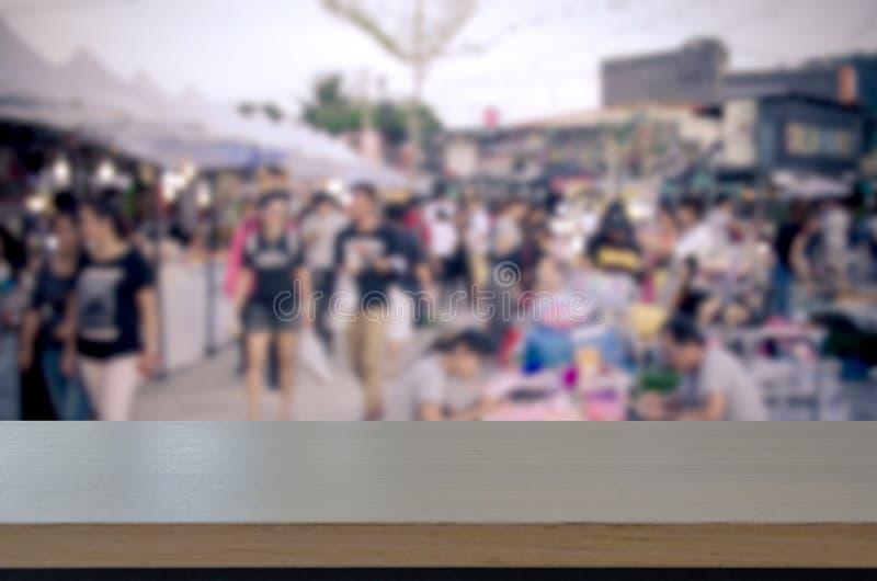 Houten lijstbovenkant Vage het Lopen Straatmarkt stock foto's