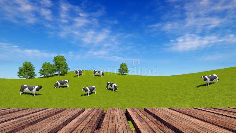 Houten lijstperspectief en landelijk landschap met koeien stock illustratie