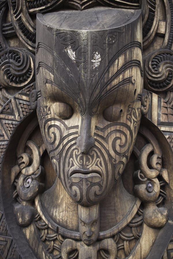 Houten maori masker van heilige god royalty-vrije stock afbeeldingen
