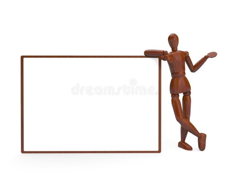 Houten marionet en leeg aanplakbord vector illustratie