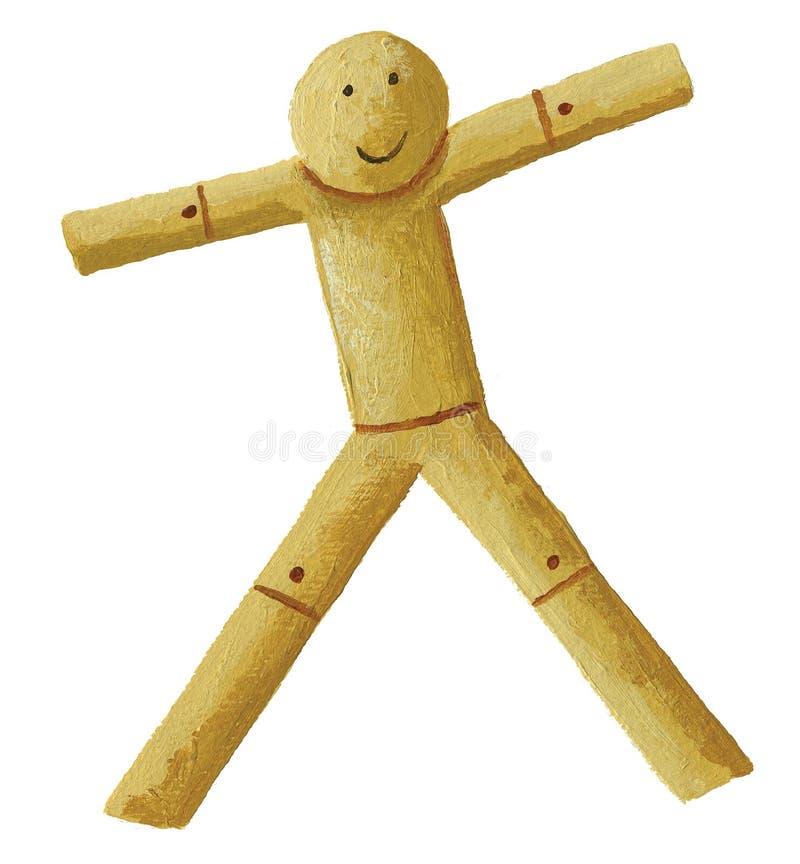 Houten marionet met brede wapens vector illustratie