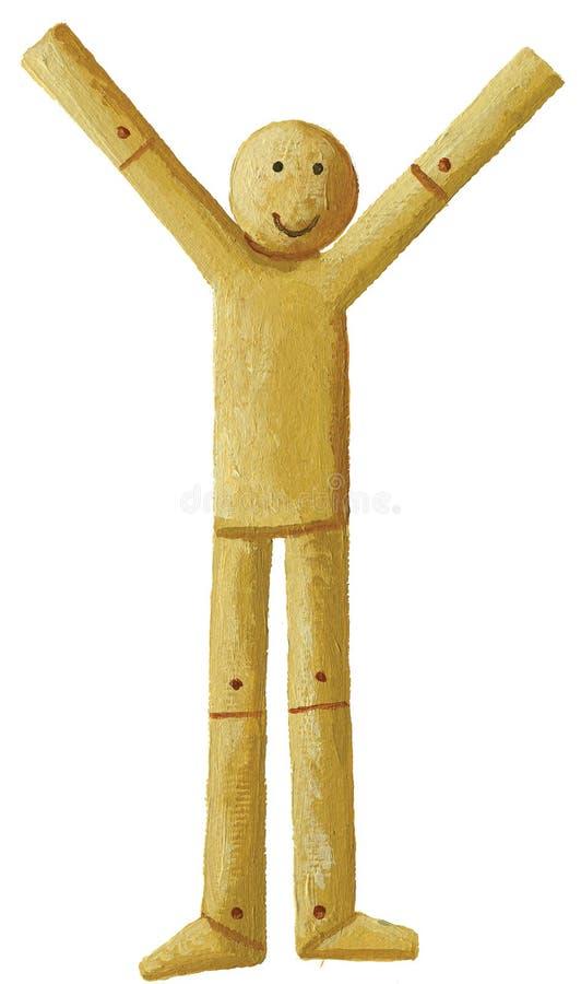 Houten marionet met zijn omhoog handen royalty-vrije illustratie