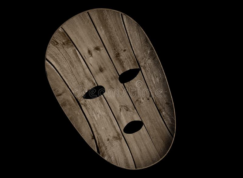 Houten masker 3d illustratie stock illustratie