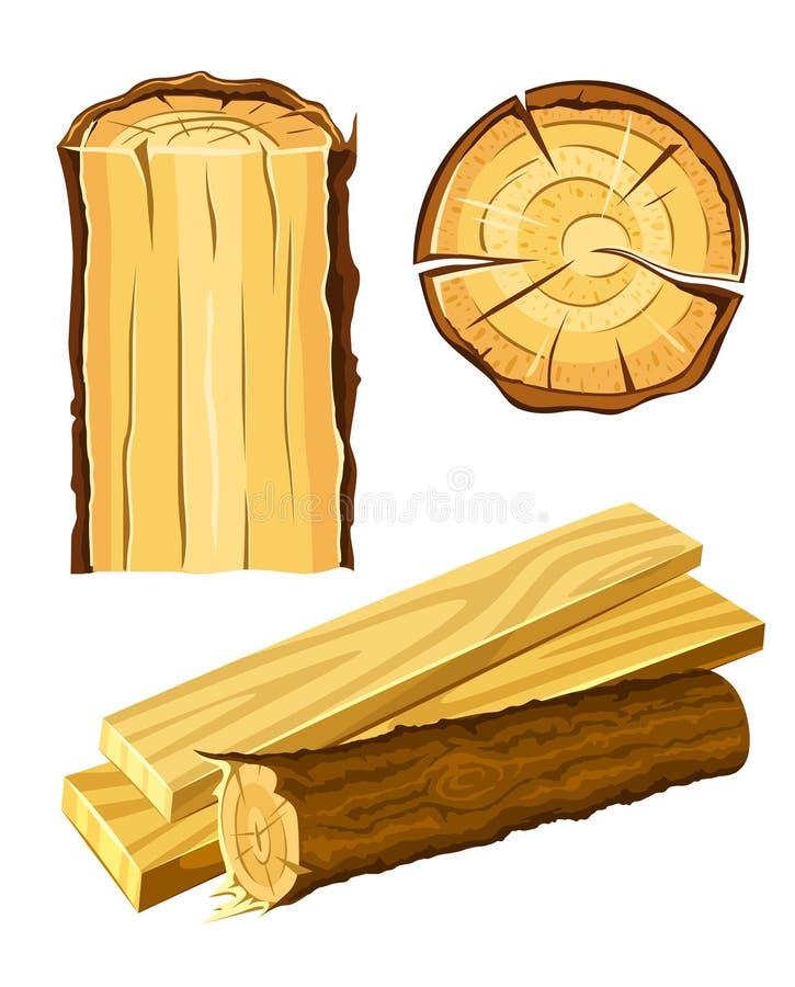 Houten materiële hout en raad vector illustratie