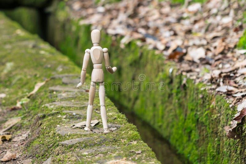 Houten mens op de rand van kanaallevada op Madera met groen mos stock fotografie