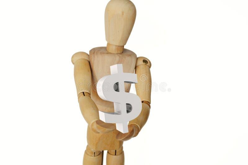 Houten menselijk de dollarteken van de ledenpopholding royalty-vrije stock afbeeldingen