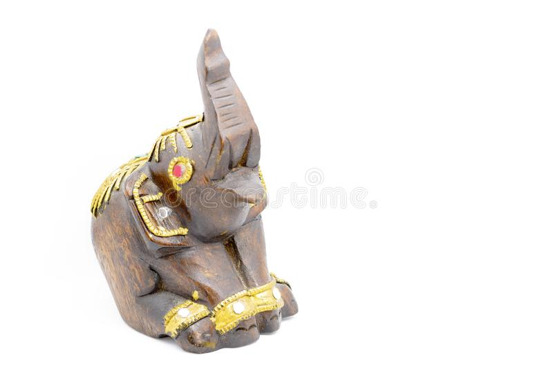 Houten met de hand gemaakt beeldje van een olifant, thailand royalty-vrije stock foto's