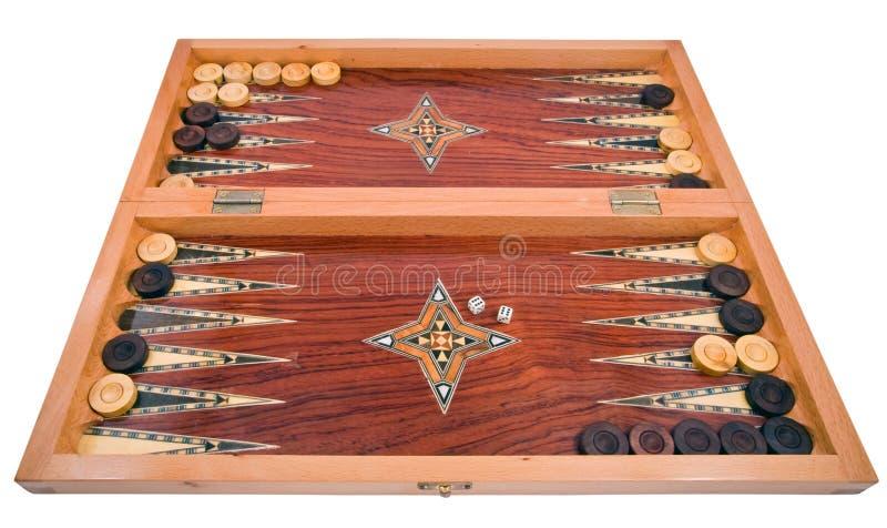 Houten met de hand gemaakte backgammonraad die op wit wordt geïsoleerd royalty-vrije stock foto