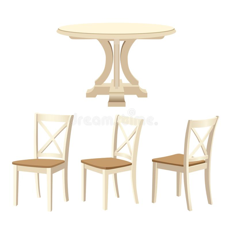 Houten meubilair dat voor het dinning van ruimte wordt geplaatst - klassieke rondetafel en stoelen stock illustratie