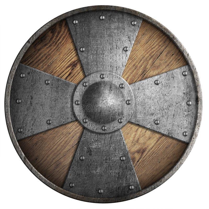 Houten middeleeuws rond die schild met kruis op witte 3d illustratie wordt geïsoleerd stock illustratie