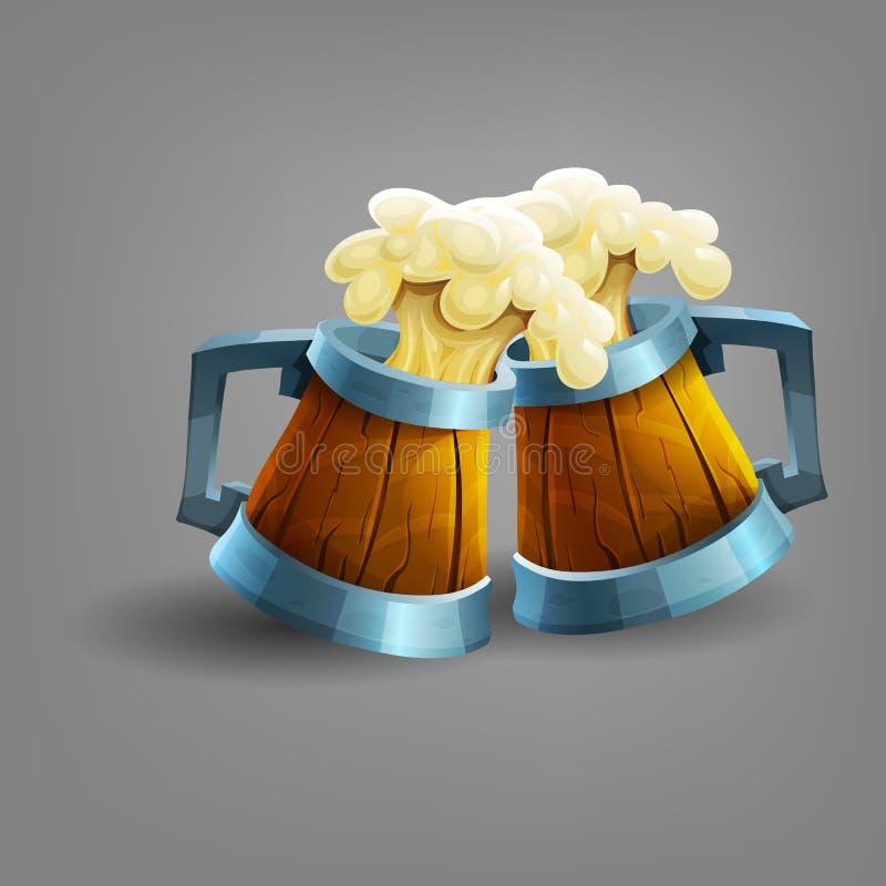 Houten mok bier stock illustratie