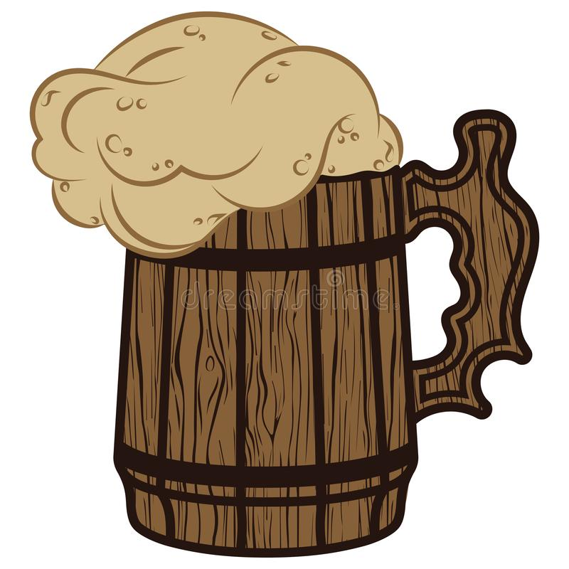 Houten mok bierschuim, illustratie aan het traditionele bierfestival stock afbeeldingen