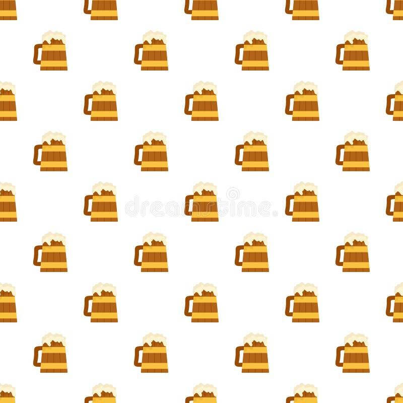 Houten mok van de naadloze vector van het bierpatroon royalty-vrije illustratie